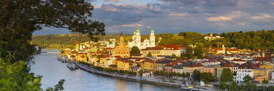 Elevated View Towards the Picturesque City of Passau Illuminated at Sunset, Passau, Lower Bavaria-Doug Pearson-Photographic Print
