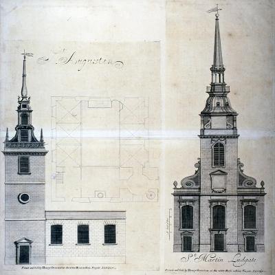 Elevation and Plan of St Augustine, Watling Street, City of London, 1740--Giclee Print