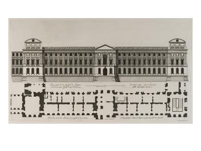 Elévation de la façade du Louvre du côté qui regarde la rivière, et plan du côté du Louvre qui-Jean Marot-Giclee Print
