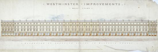 Elevation of Proposed Houses in Victoria Street, Westminster, London, C1845-Tyler-Giclee Print