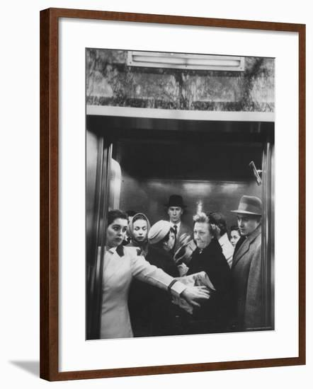 Elevator in a Madison Avenue High Rise Office Building-Walter Sanders-Framed Photographic Print