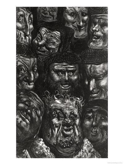 """Eleven Grotesque Faces from """"Les Contes Drolatiques"""" by Honore De Balzac (1799-1850)-Gustave Dor?-Giclee Print"""