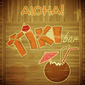 Retro Design Tiki Bar Menu On Wooden Background by elfivetrov