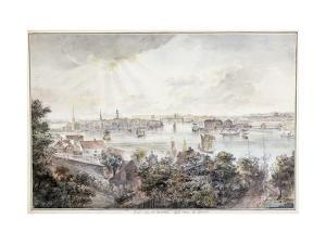 A View of Stockholm from Soder with the Royal Palace, Storkyrkan, Riddarholmskykan and Tskakykan by Elias Martin