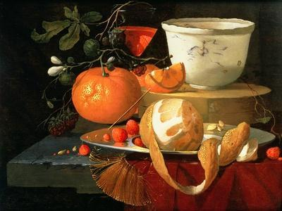 Still Life of an Orange, a Lemon and Strawberry on a Pewter Plate, a Wan-Li Bowl Behind