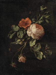 Still Life with Roses by Elias Van Den Broeck