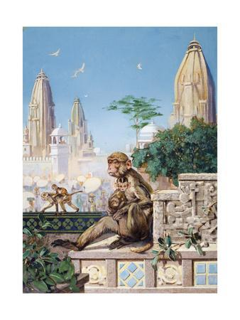 Painting of Rhesus Monkeys in an Indian Cityscape