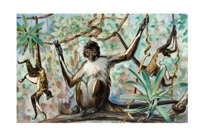 Painting of Spider Monkeys in a Forest Habitat by Elie Cheverlange