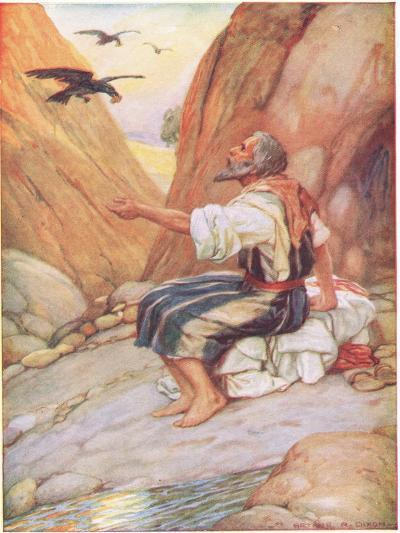 Elijah Fed by the Ravens-Arthur A^ Dixon-Giclee Print