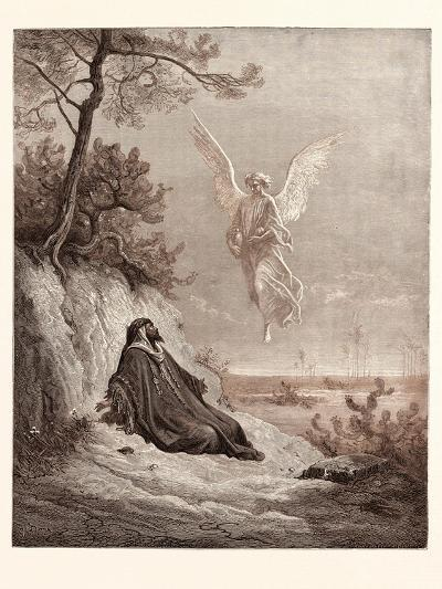 Elijah Nourished by an Angel-Gustave Dore-Giclee Print