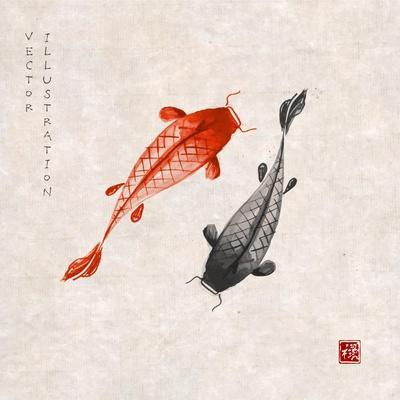 Red and Black Koi Carps Hand Drawn with Ink in Traditional Japanese Painting Style Sumi-E on Vintag
