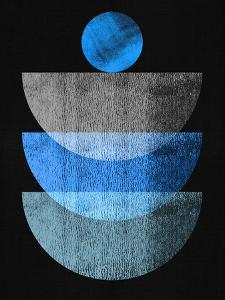 Azure Blue and Gray on Black Half Moons by Eline Isaksen