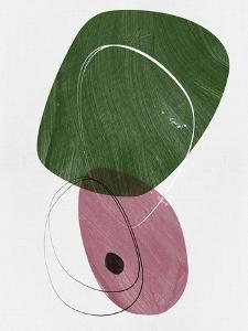 Fern Green and Indian Red Abstract Shapes by Eline Isaksen