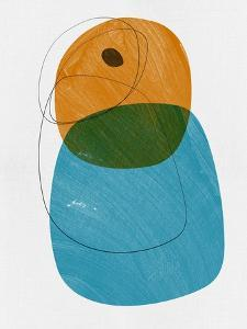 Honey and Blue Abstract Shapes by Eline Isaksen