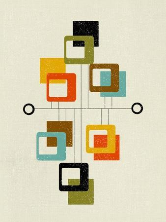 Mid Century Floating Square Shapes