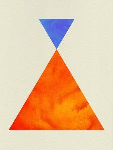 Mid Century Orange and Blue Triangles by Eline Isaksen