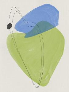 Sky Blue and Lime Abstract Shapes by Eline Isaksen