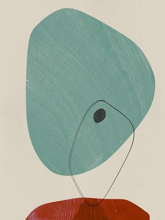 Teal and Sangria Abstract Shapes
