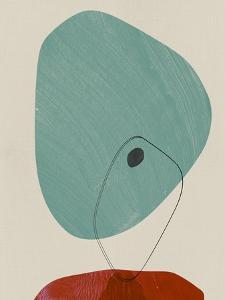 Teal and Sangria Abstract Shapes by Eline Isaksen