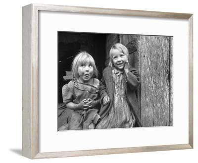 Four Year Old Flora and Her Sister Jacqueline Couch, 6 Smiling at the Camera