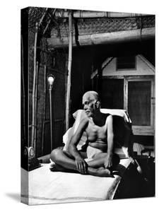 Holy Man Sri Ramana Maharshi Sitting in Bed by Eliot Elisofon
