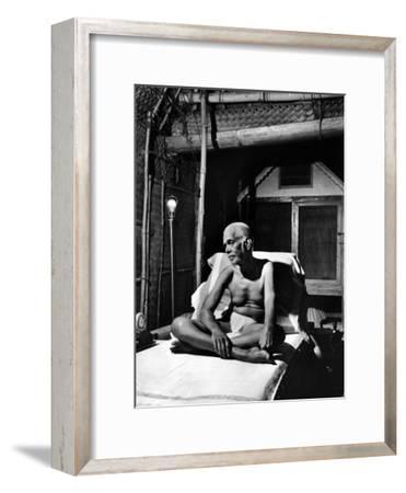 Holy Man Sri Ramana Maharshi Sitting in Bed