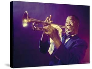 Jazz Trumpeter Louis Armstrong Playing His Trumpet by Eliot Elisofon