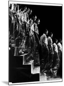 "Marcel Duchamp Walking down Stairs in exposure of Famous Painting ""Nude Descending a Staircase"" by Eliot Elisofon"
