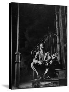 "Playwright Tennessee Williams Sitting on Theater Set of His Play ""Streetcar Named Desire"" by Eliot Elisofon"