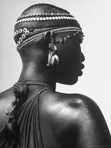 Shilluk Tribe Girl Wearing Decorative Beaded Head Gear in Sudd Region of the Upper Nile, Sudan by Eliot Elisofon