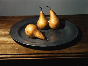 Still Life of Pears on Antique Pewter Plate by Eliot Elisofon