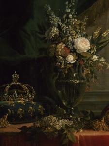Reine Marie-Antoinette assise, en manteau bleu et robe blanche, tenant un livre à la main by Elisabeth Louise Vigée-LeBrun