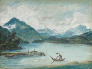 View of Lake Geneva with a Man Rowing a Small Boat and Two Swans by Elisabeth Louise Vigee-LeBrun