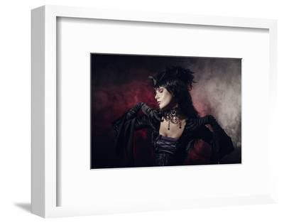 Romantic Gothic Girl in Victorian Style Clothes, Shot over Smoky Background
