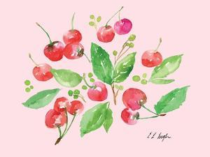 Cherries and Leaves - Pale Pink by Elise Engh