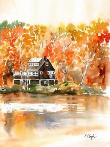 Fall Cabin by the Lake by Elise Engh