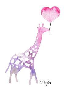 Giraffe with Heart Balloon by Elise Engh