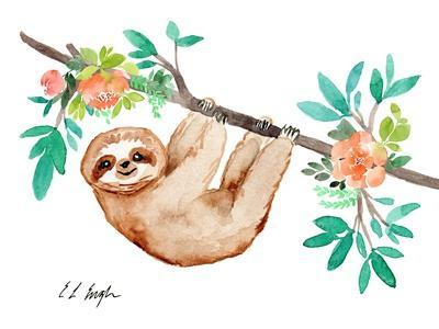 Little Brown Sloth with Flowers