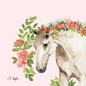 Peach Floral Horse - Pink Background by Elise Engh