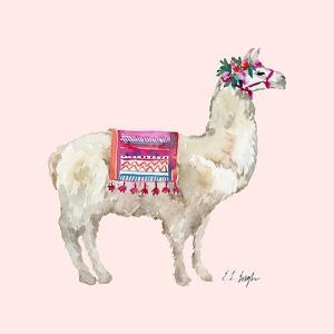 PeruVIan Llama - Pink Background by Elise Engh