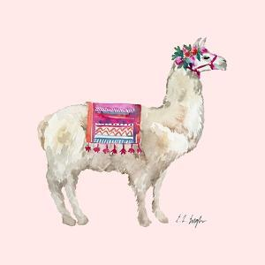PeruVIan Llama - Pink Background by Elise Engh