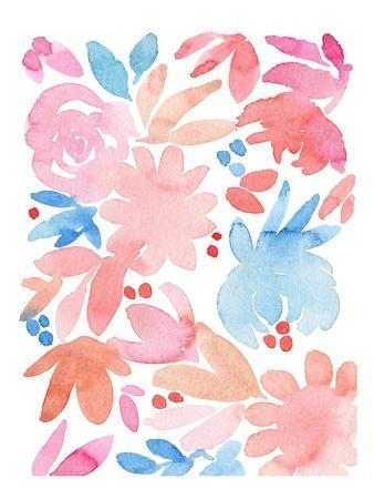 Pink and Blue Floral Abstract