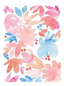 Pink and Blue Floral Abstract by Elise Engh