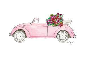 Pink Car with Tropical Flowers by Elise Engh