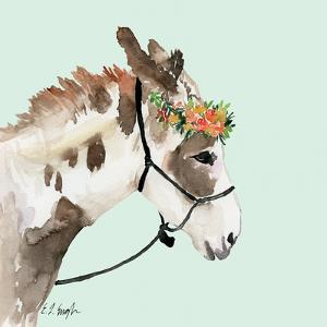Pony with Floral Crown - Mint Background by Elise Engh