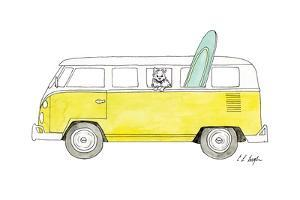 Yellow Van with Green Surf Board by Elise Engh