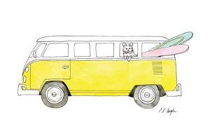 Yellow Van with Pink and Green Surfboards by Elise Engh