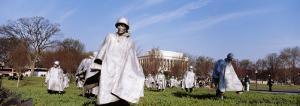 Tourists in the War Memorial, Korean Veterans Memorial, Washington DC, District of Columbia, USA by Elise Remender