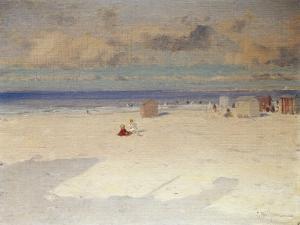 A Beach Scene by Eliseo Meifren y Roig