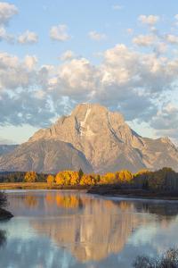 USA, Wyoming, Grand Teton National Park, Mt. Moran along the Snake River in autumn. by Elizabeth Boehm